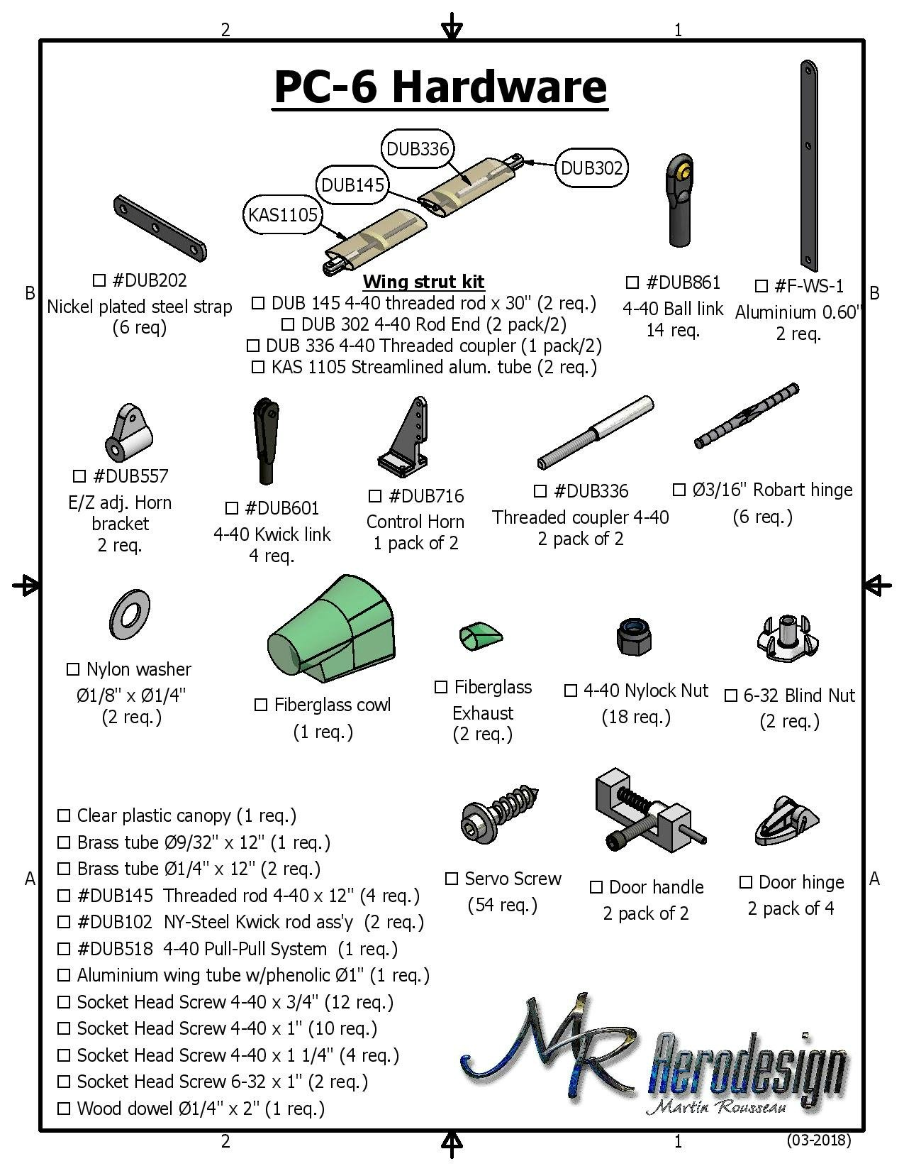 Pilatus Porter RC Kit:Hardware list.