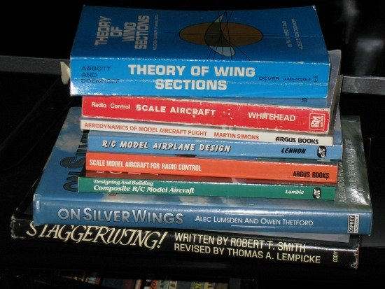 Stack of aviation books