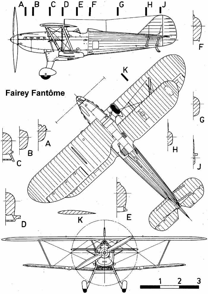 Fairey Fantome 3-views