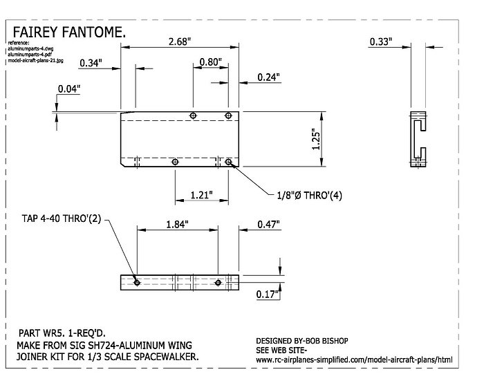 Fairey Fantome 1/5 scale RC airplane:Wing mounting hardware.