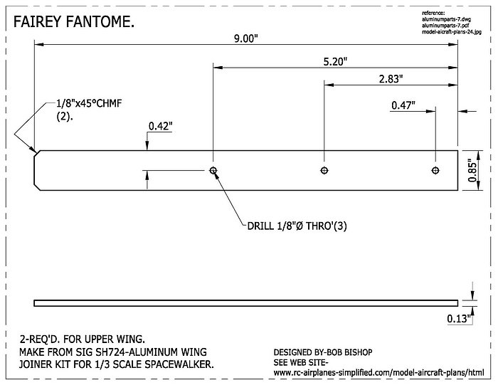 Fairey Fantome 1/5 scale RC airplane:Wing mounting hardware