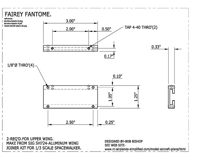 Fairey Fantome 1/5 scale RC airplane: Wing mounting hardware