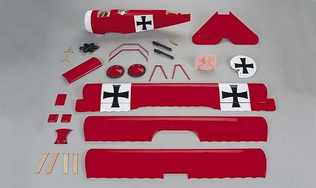 All the components of the G.P. Fokker Triplane ARF.