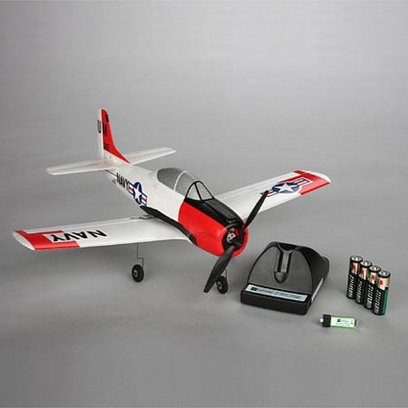 The RC airplane along with the charger and all the batteries
