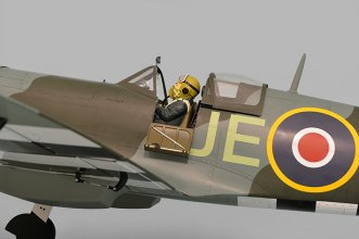 Phoenix Models Spitfire 50-61cc:Pilot door down and canopy in rear position