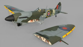 Phoenix Models Spitfire 50-61cc:View with one wing removed.