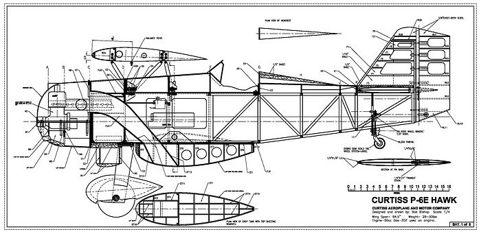 Curtiss P-6E Hawk: 1/4 scale model plans