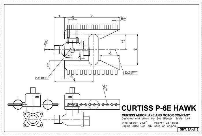 Curtiss P-6E Hawk:RC model scale muffler