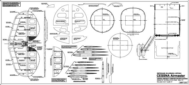 Cessna C-37 Airmaster: CAD plans-fuselage cross sections